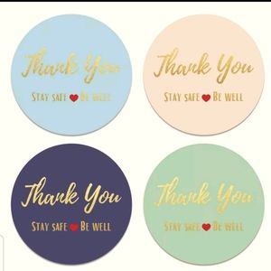 "100 Large ""Thank you Stay Safe/Be Well"" stickers"